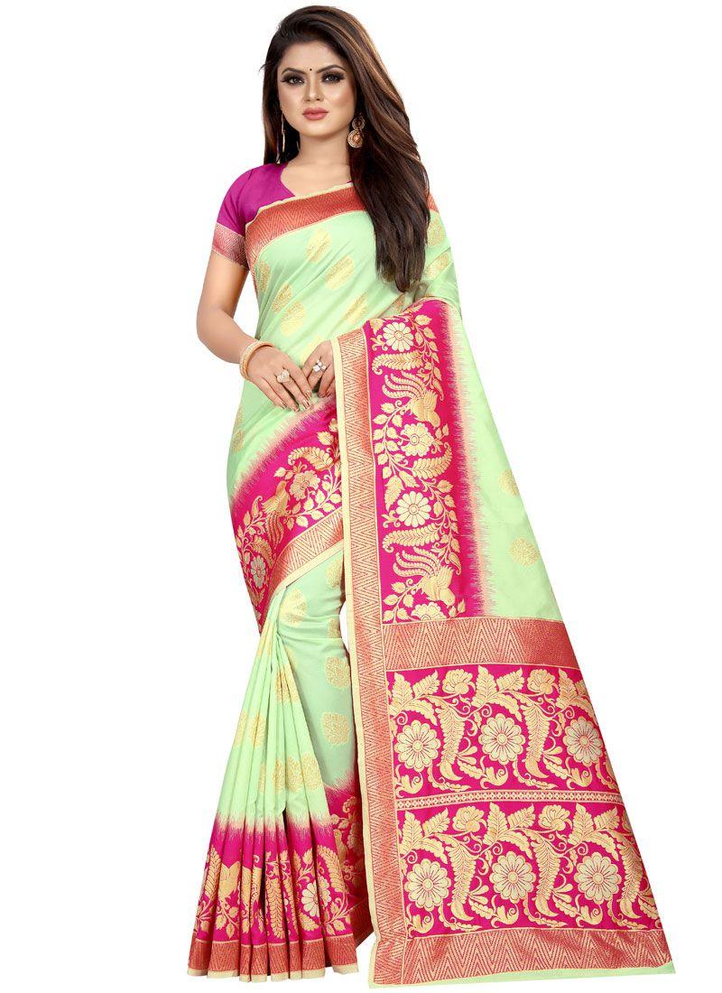 Weaving Art Silk Green Designer Traditional Saree