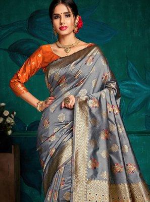 Weaving Art Silk Grey Traditional Saree