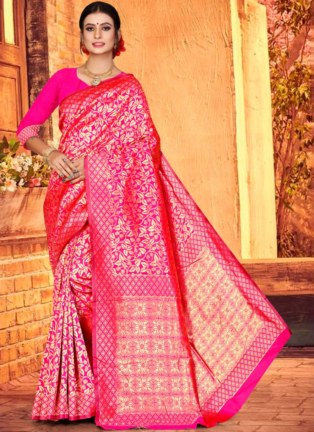 Weaving Art Silk Hot Pink Traditional Designer Saree