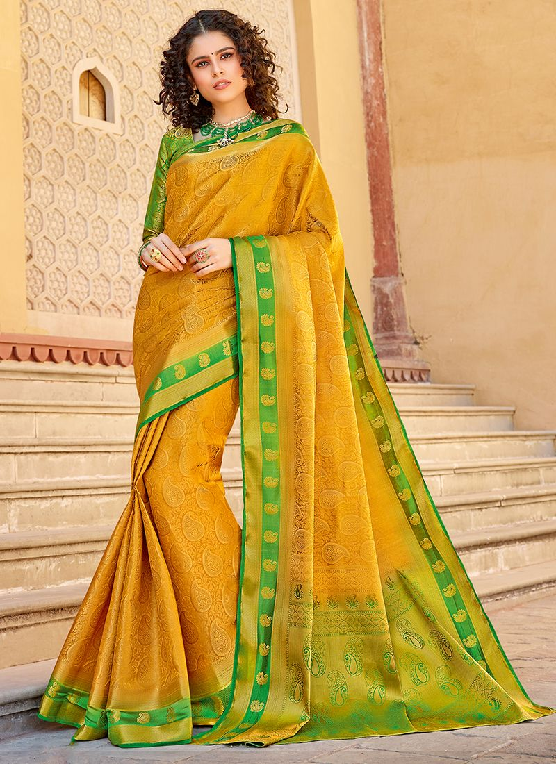 Weaving Art Silk Mustard Classic Saree