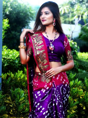 Weaving Art Silk Pink and Purple Classic Saree