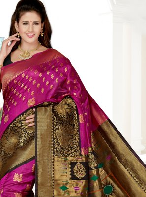 Weaving Art Silk Pink Traditional Saree