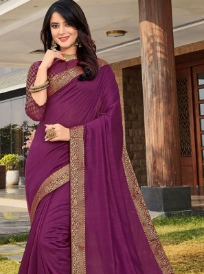 Weaving Art Silk Purple Designer Traditional Saree