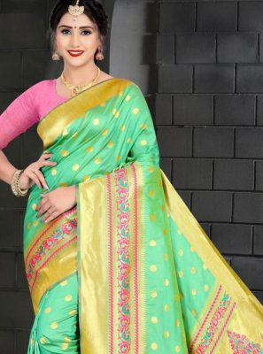 Weaving Art Silk Sea Green Traditional Designer Saree