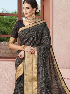 Weaving Art Silk Saree in Black