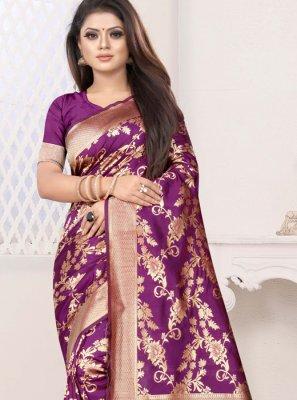 Weaving Art Silk Traditional Designer Saree in Purple