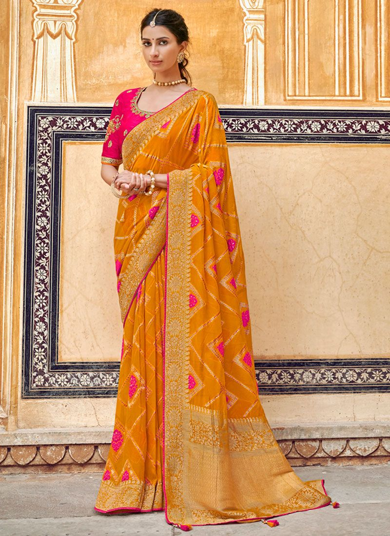 Weaving Art Silk Yellow Designer Traditional Saree