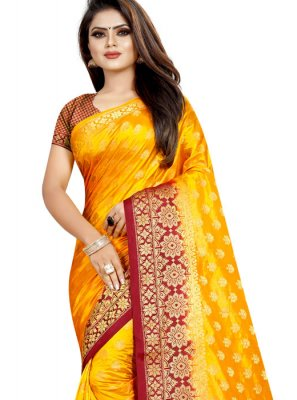 Weaving Art Silk Yellow Designer Traditional Saree