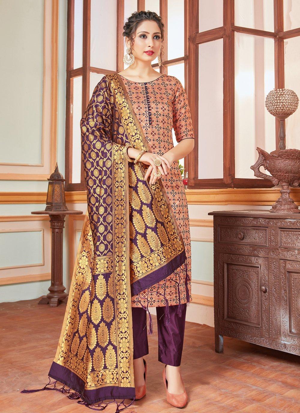 Weaving Banarasi Silk Beige Salwar Kameez