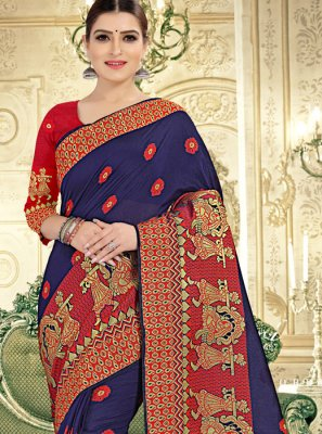 Weaving Banarasi Silk Blue Trendy Saree