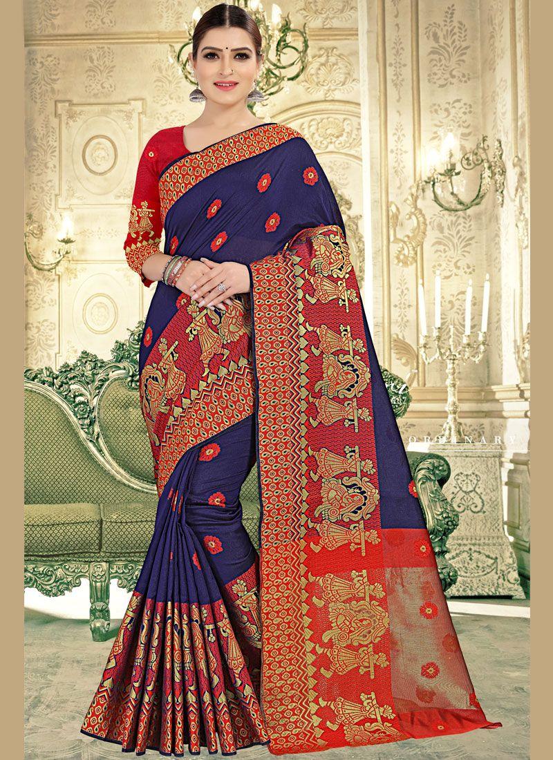 Weaving Banarasi Silk Blue Trendy Saree