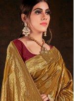 Weaving Banarasi Silk Brown Bollywood Saree