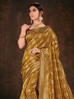 Weaving Banarasi Silk Brown Bollywood Saree