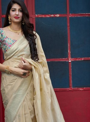 Weaving Banarasi Silk Classic Designer Saree in Beige