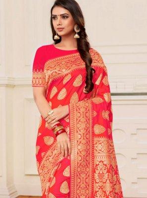 Weaving Banarasi Silk Designer Half N Half Saree