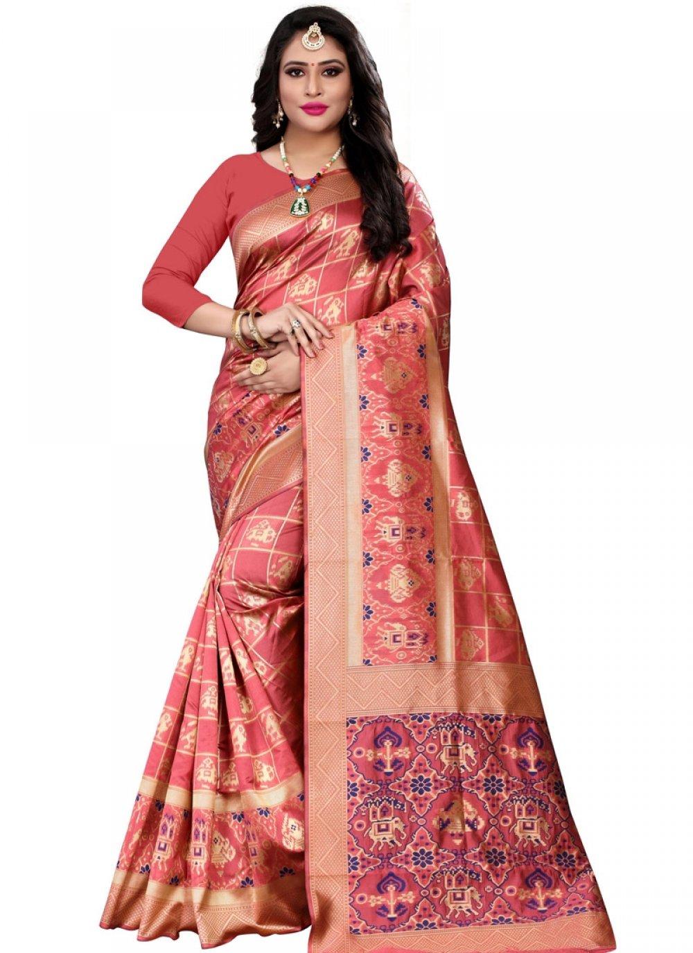 Weaving Banarasi Silk Designer Saree in Peach
