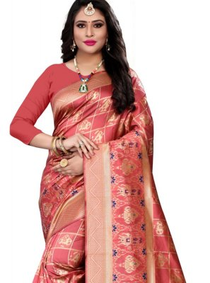 Weaving Banarasi Silk Designer Saree in Peach