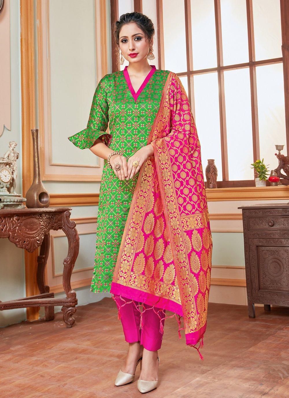 Weaving Banarasi Silk Green Trendy Salwar Suit