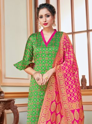 Weaving Banarasi Silk Green Trendy Salwar Suit