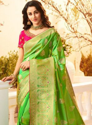 Weaving Banarasi Silk Green Trendy Saree