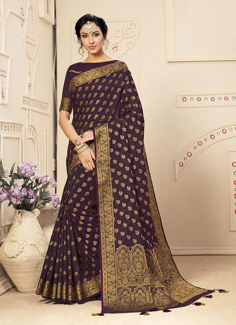 Weaving Banarasi Silk Lavender Silk Saree