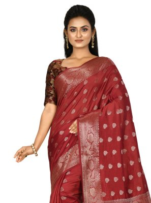 Weaving Banarasi Silk Maroon Trendy Saree
