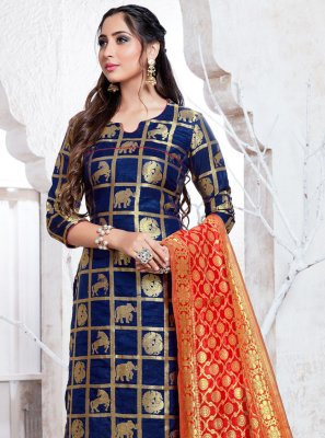 Weaving Banarasi Silk Navy Blue Pant Style Suit