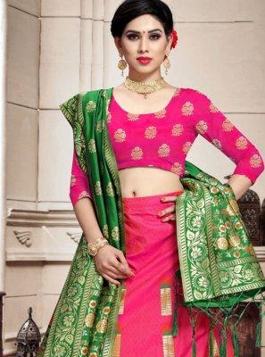 Weaving Banarasi Silk Pink A Line Lehenga Choli