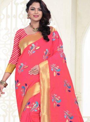 Weaving Banarasi Silk Pink Silk Saree
