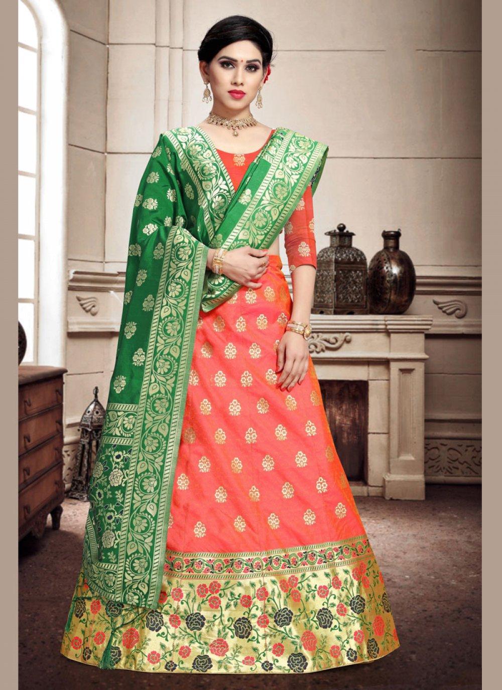 Weaving Banarasi Silk Pink Trendy Lehenga Choli
