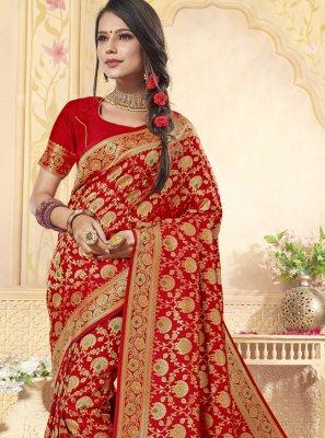 Weaving Banarasi Silk Red Trendy Saree