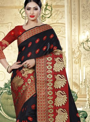 Weaving Banarasi Silk Silk Saree in Black