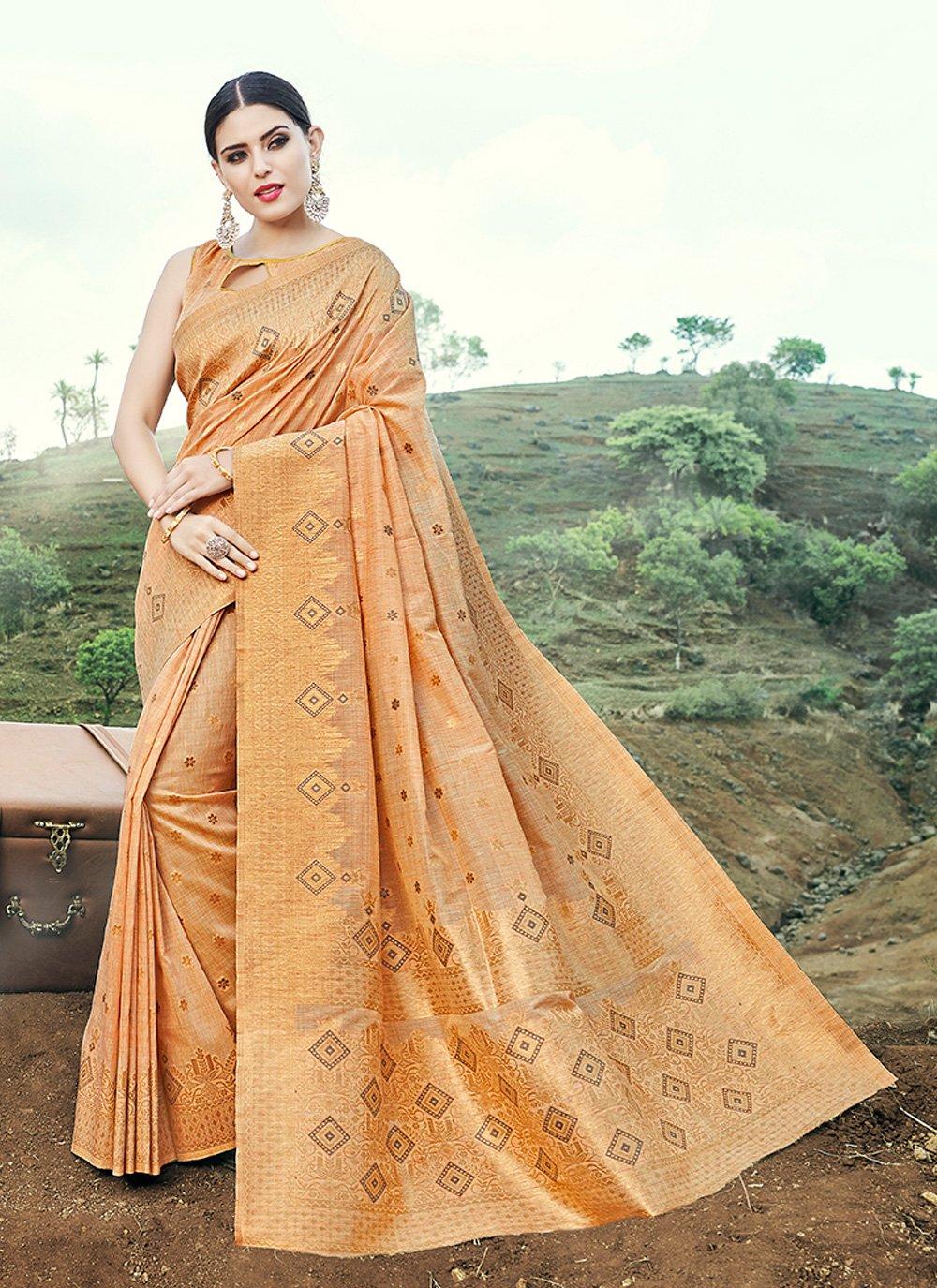 Weaving Banarasi Silk Trendy Saree in Beige