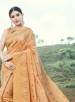 Weaving Banarasi Silk Trendy Saree in Beige