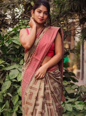 Weaving Beige Designer Saree