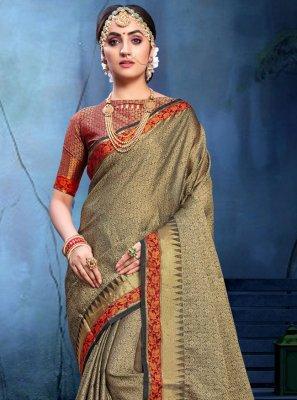 Weaving Black and Grey Cotton Silk Saree