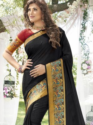 Weaving Black Art Silk Classic Saree