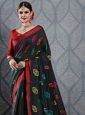 Weaving Black Linen Contemporary Saree