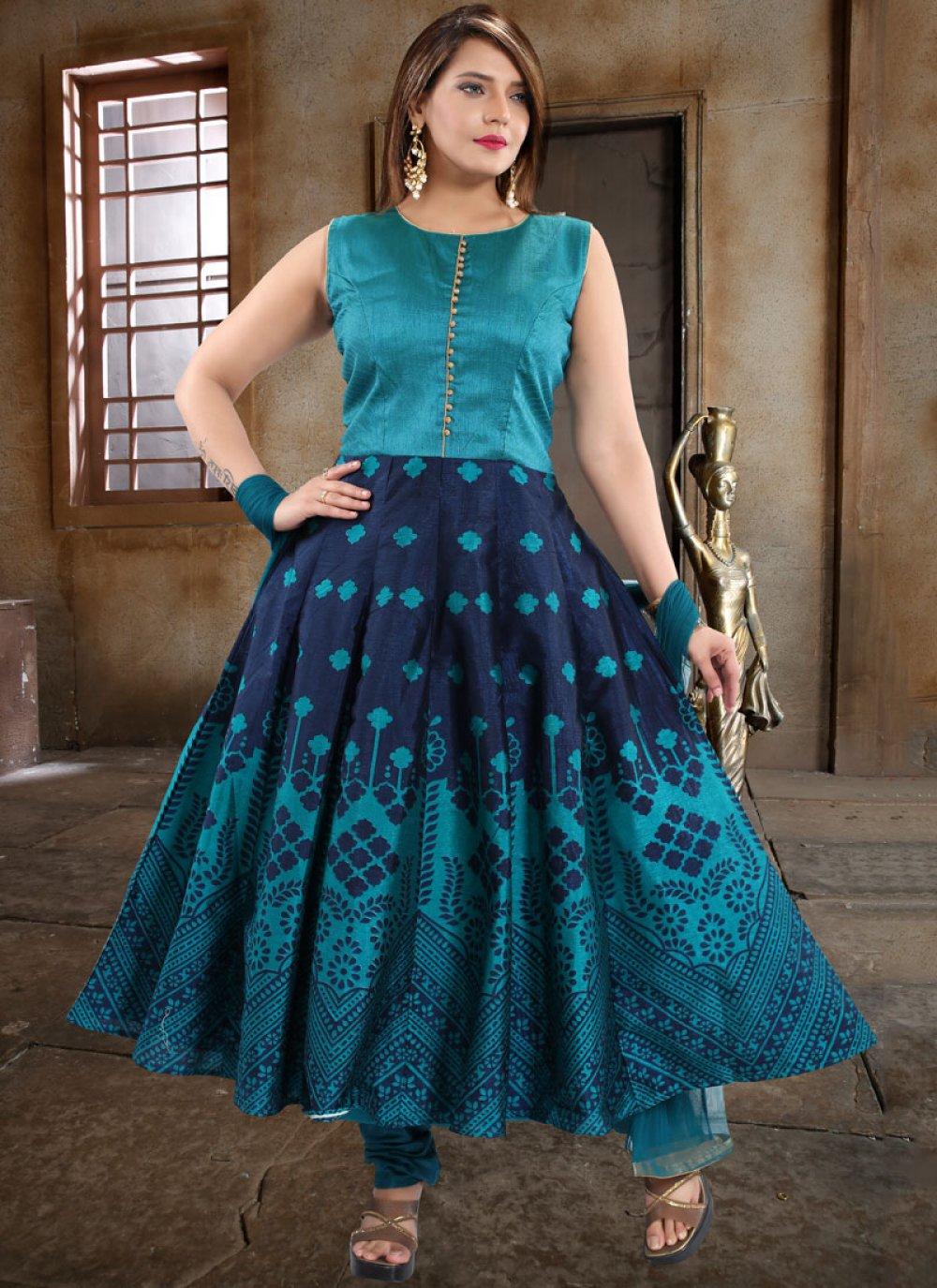 Weaving Blue Anarkali Salwar Kameez