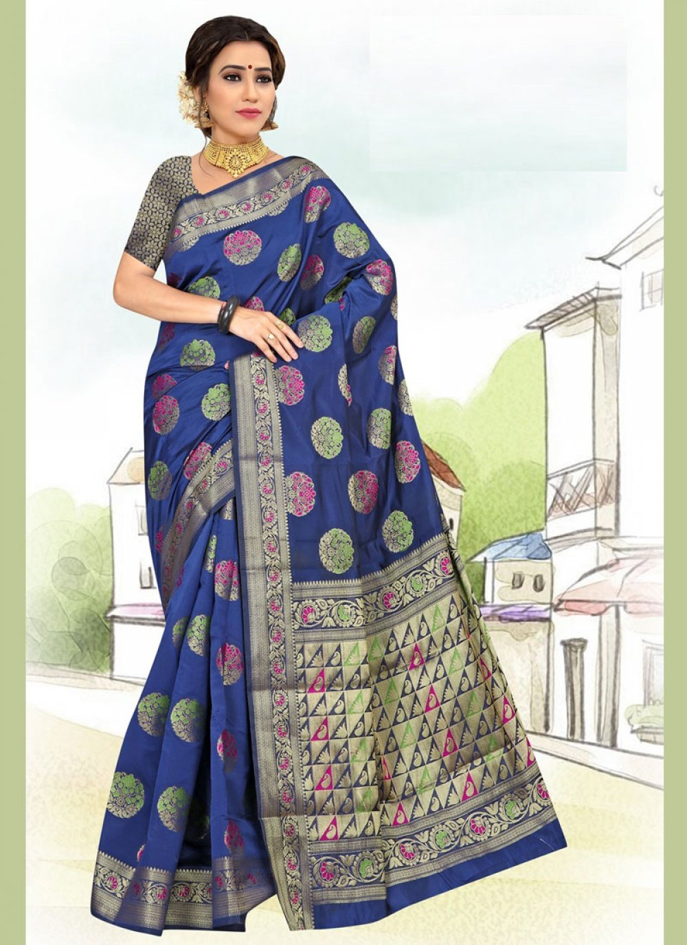 Weaving Blue Art Silk Casual Saree