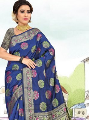 Weaving Blue Art Silk Casual Saree