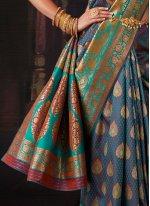 Weaving Blue Banarasi Silk Contemporary Saree