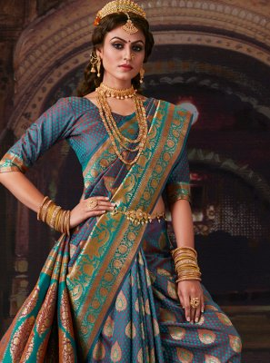 Weaving Blue Banarasi Silk Contemporary Saree