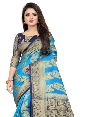 Weaving Blue Contemporary Saree
