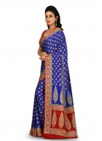 Weaving Blue Designer Saree