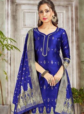 Weaving Blue Pant Style Suit