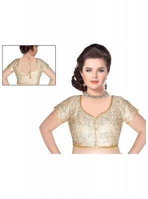 Weaving Brocade Designer Blouse in White