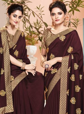 Weaving Brown Classic Saree
