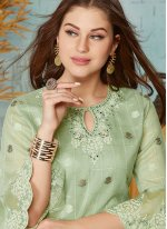 Weaving Chanderi Designer Kurti in Green