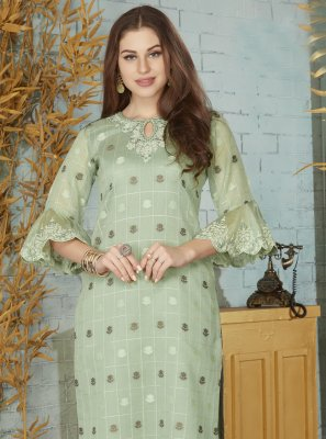 Weaving Chanderi Designer Kurti in Green